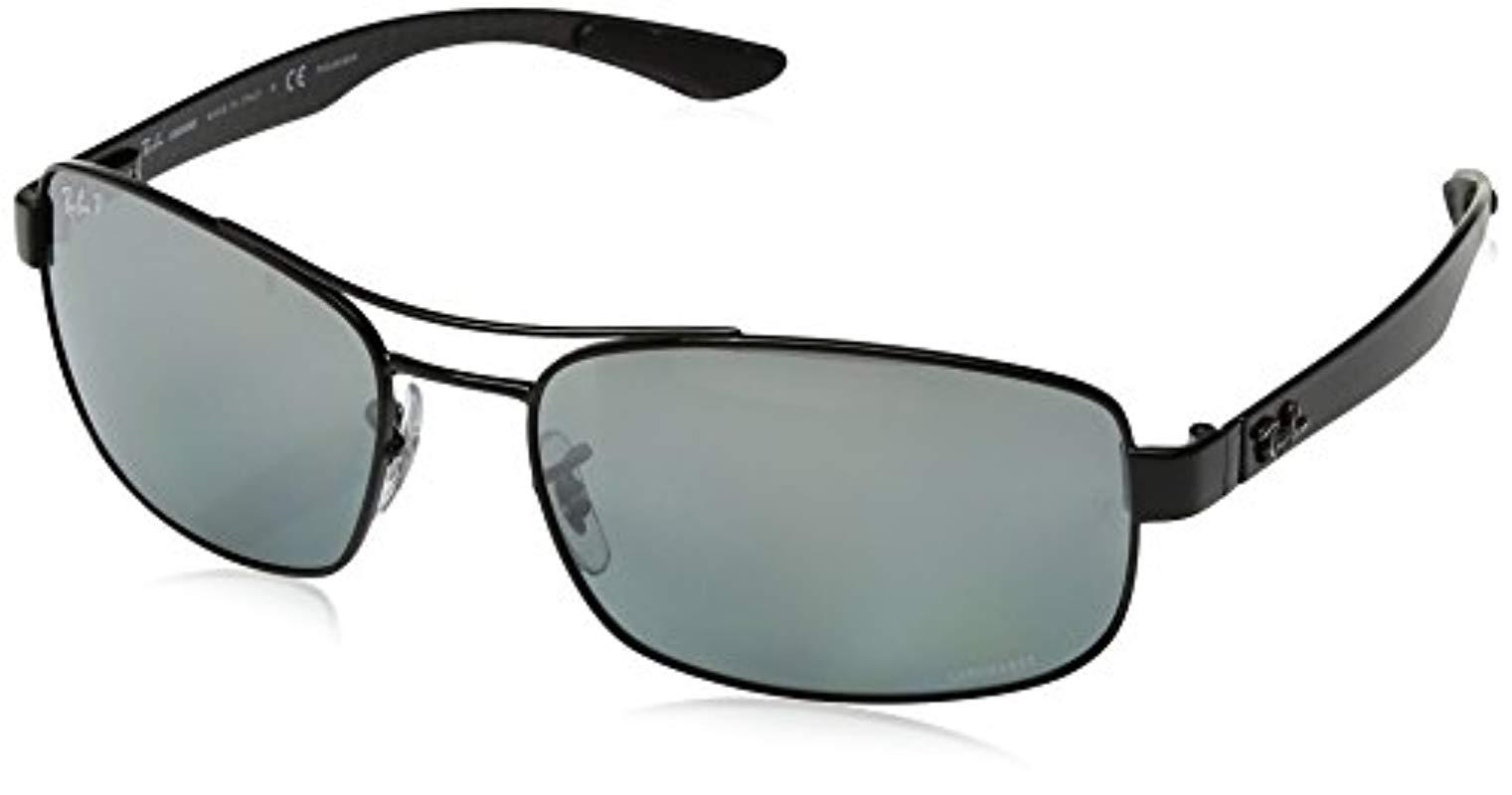 b5a0bcc3cb4 Ray-Ban. Men s Black Rb8318ch Chromance Lens Rectangular Metal Sunglasses
