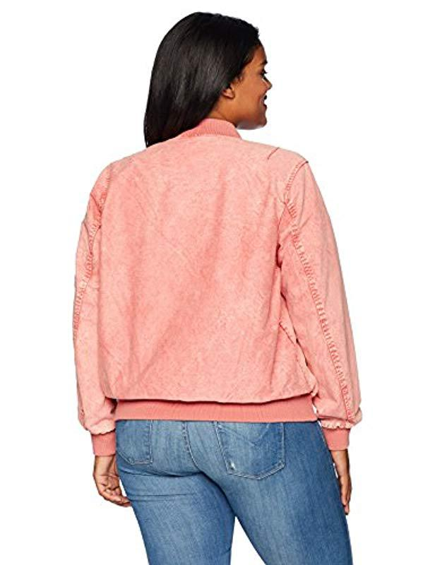 3f94cb693d4 Lyst - Levi s Size Plus Acid Wash Cotton Bomber Jacket in Pink - Save 13%