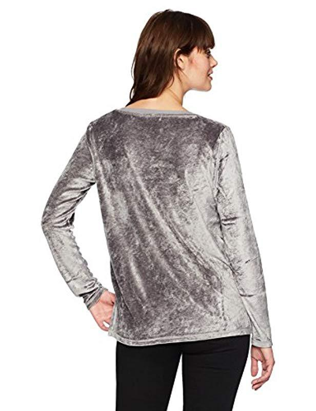 6895488c3a0 Lyst - Michael Stars Vali Velvet Long Sleeve V-neck With Slits in Gray -  Save 60%
