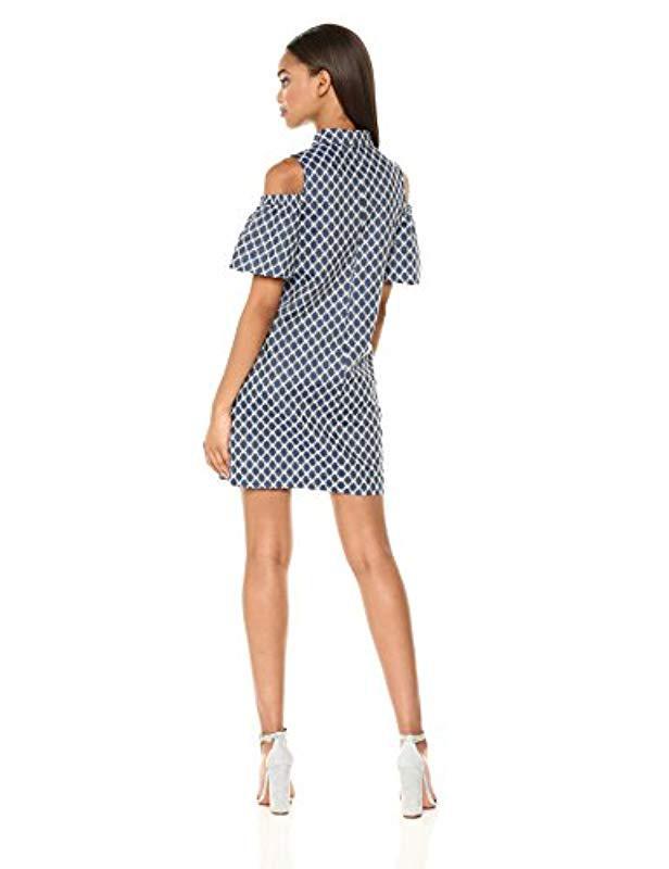 cec6133f30f0e Lyst - Trina Turk Trina Cali Cold Shoulder Shirt Dress in Blue