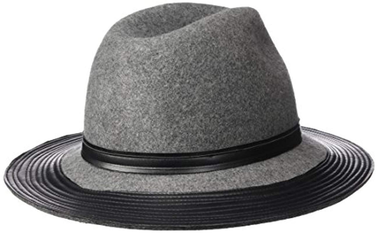 ceb643dff8d52 ... Wide Fedora With Faux Leather Band And Brim - Lyst. View fullscreen