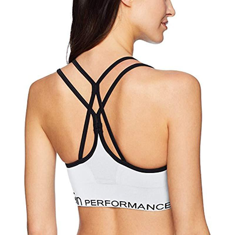 c00f2db052 Calvin Klein - White Low Impact Ruched Front Strappy Sports Bra - Lyst.  View fullscreen