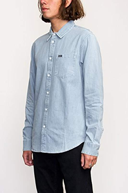827d8781f50 RVCA - Blue Johnny Long Sleeve Woven Shirt for Men - Lyst. View fullscreen