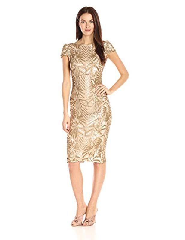 ae8aa476 Lyst - Dress the Population Marcella Cap Sleeve Scoop Back Sequin ...