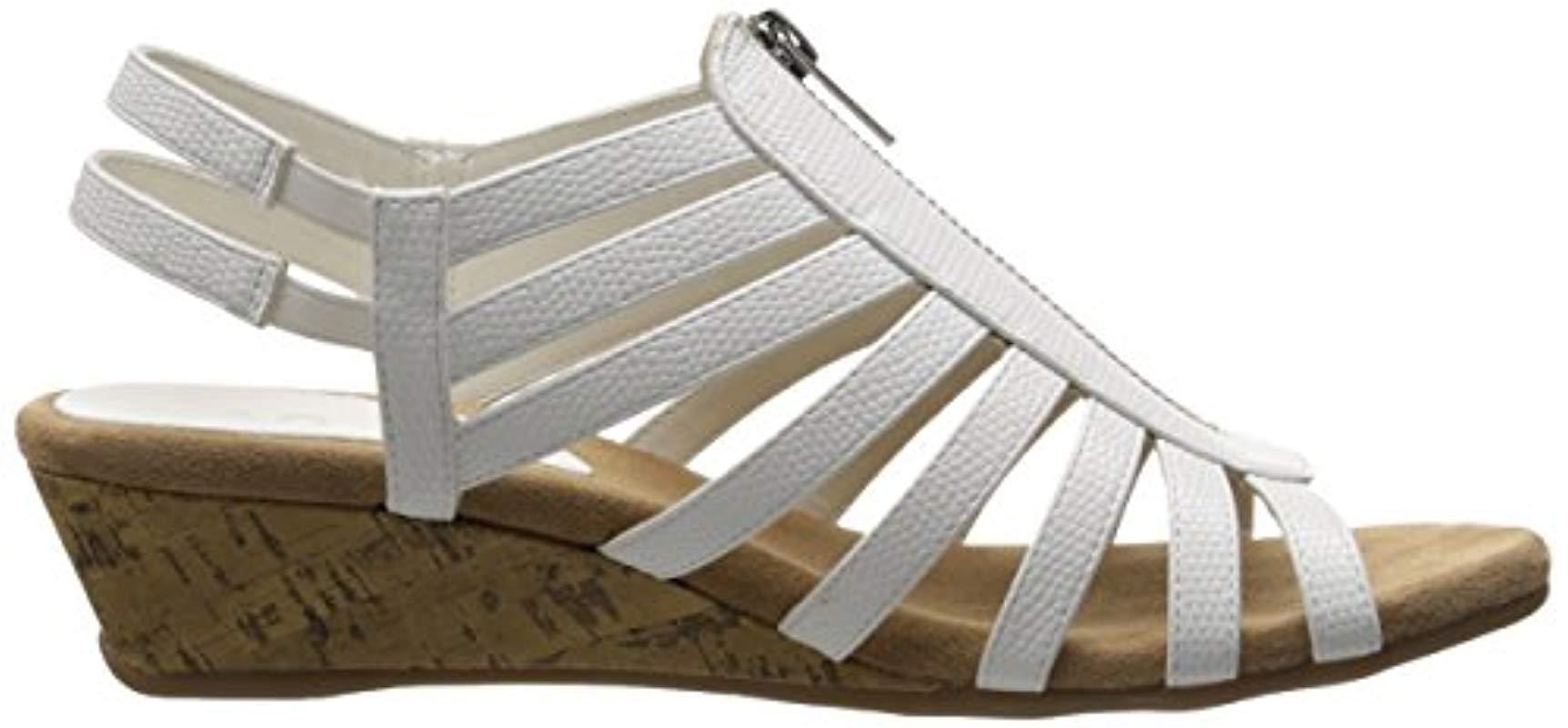 5c04836e53ea Lyst - Aerosoles A2 Yetaway Wedge Sandal in White - Save 3%