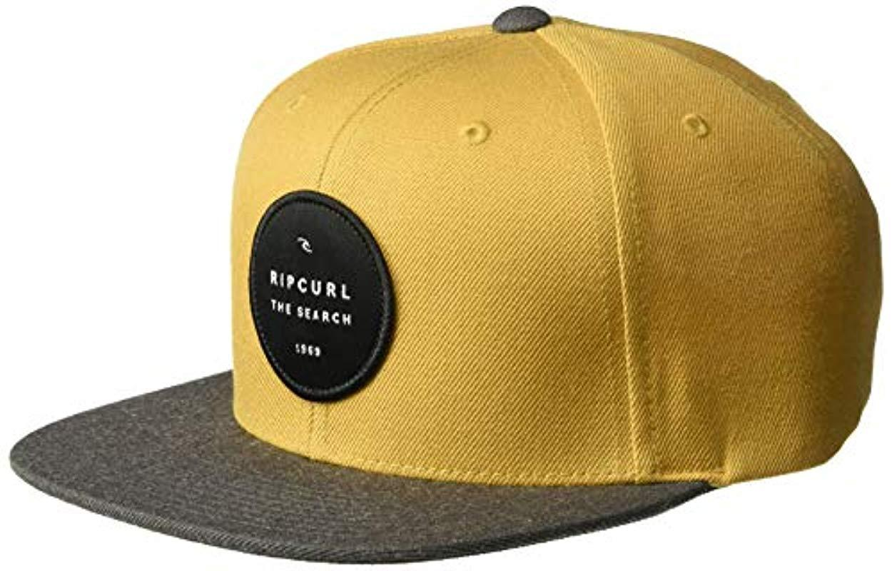 916a14309fb582 Rip Curl - Yellow Valley Badge Snapback Hat for Men - Lyst. View fullscreen