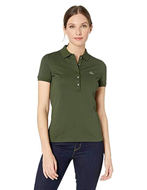 de723382a Lacoste. Green Classic Short Sleeve Slim Fit Stretch Pique Polo (dianthus)  Women's ...