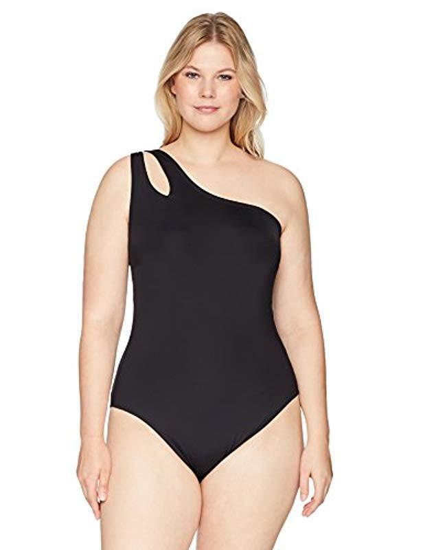 033044062c37 Kenneth Cole Reaction. Women's Black Plus-size Shoulder Cut Out One Piece  Swimsuit