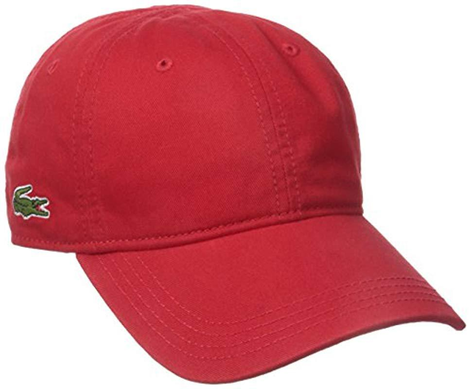 Lyst - Lacoste Cotton Gabardine Cap With Signature Green Croc in Red ... c6d338cd805e