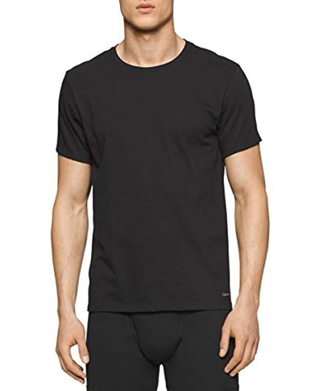 Lyst - Calvin Klein Cotton Classics Slim Fit 3 Pack Crew Neck Tshirts in  Black for Men f8ad1d291