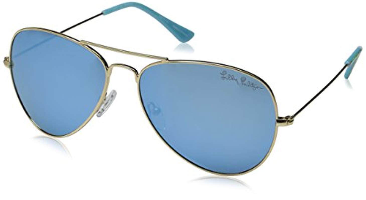 1777d4ec50c Lyst - Lilly Pulitzer Lexy Lexysb59 Polarized Aviator Sunglasses in Blue