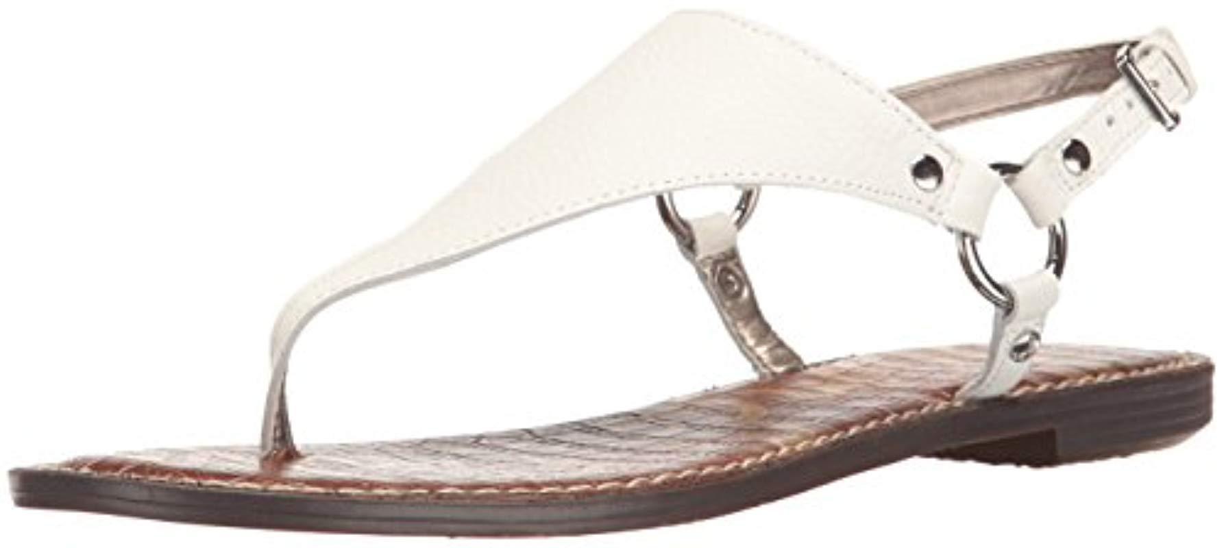 b73a849230d1 Lyst - Sam Edelman Greta Flat Sandal in White - Save 52.38095238095238%