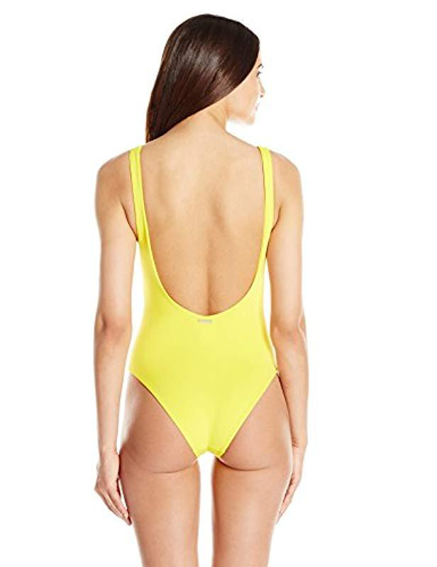 2216ca179d Lyst - Mara Hoffman Desa Lace-up One Piece Swimsuit in Yellow - Save 48%