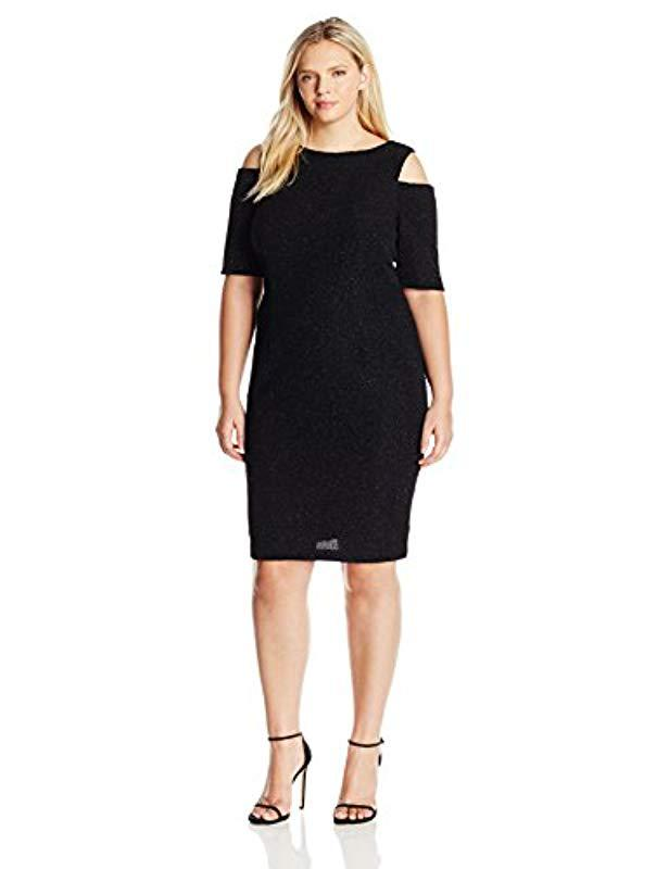 7209d9662a1 Lyst - Eliza J Plus Size Glitter Dress With Cold Shoulders in Black