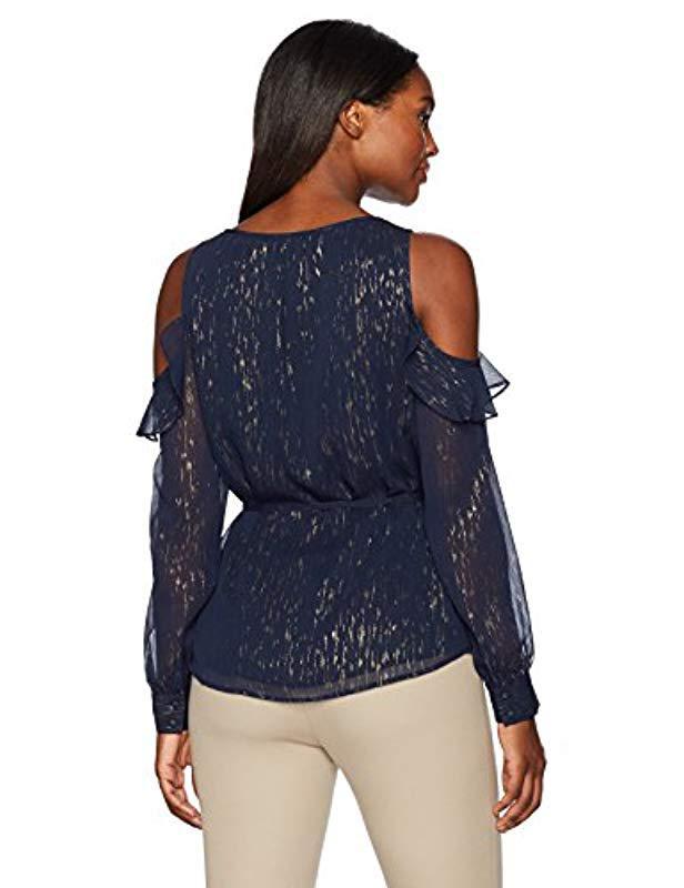 2226c09207e07 Lyst - Ivanka Trump Cold Shoulder Blouse in Blue - Save 51%