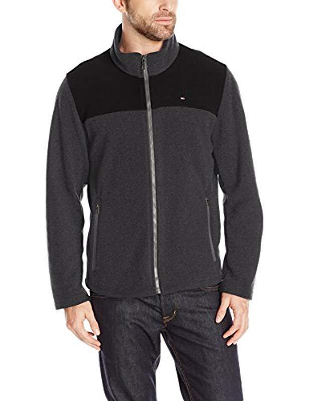 723fc495d11 Lyst - Tommy Hilfiger Classic Zip Front Polar Fleece Jacket in Black ...