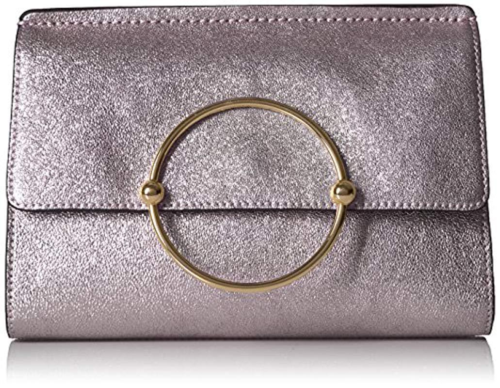 b0c6ab1a3e Lyst - MILLY Metallic Leather Flap Clutch - Save 18%