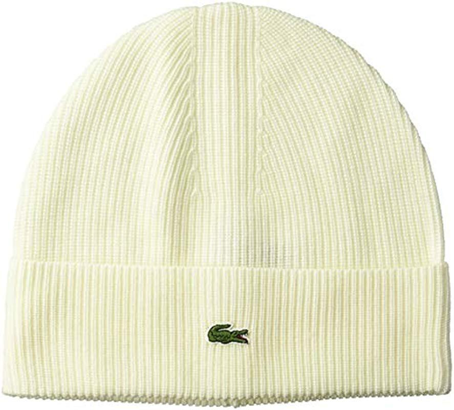c68e304fb11 Lyst - Lacoste Solid Half Cardigan Rib Wool Beanie in Natural for Men