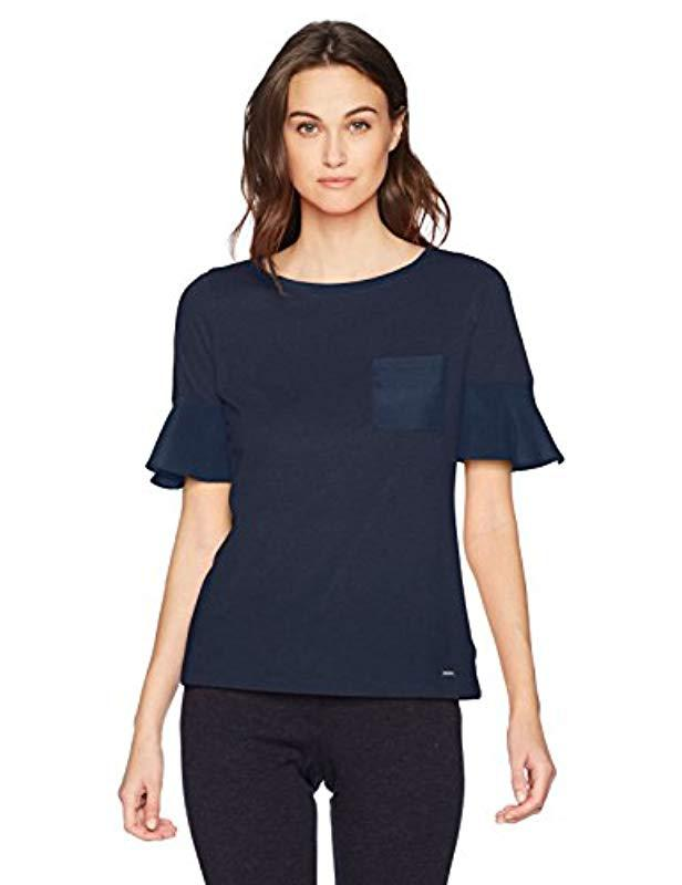 9c2261e09a425d Lyst - Nautica Short Knit Top With Woven Ruffle Sleeve in Blue
