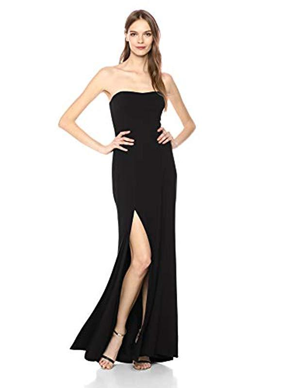 6c2fb2e3fada Dress the Population. Women's Black Ellen Strapless Dress Solid Crepe Long  ...