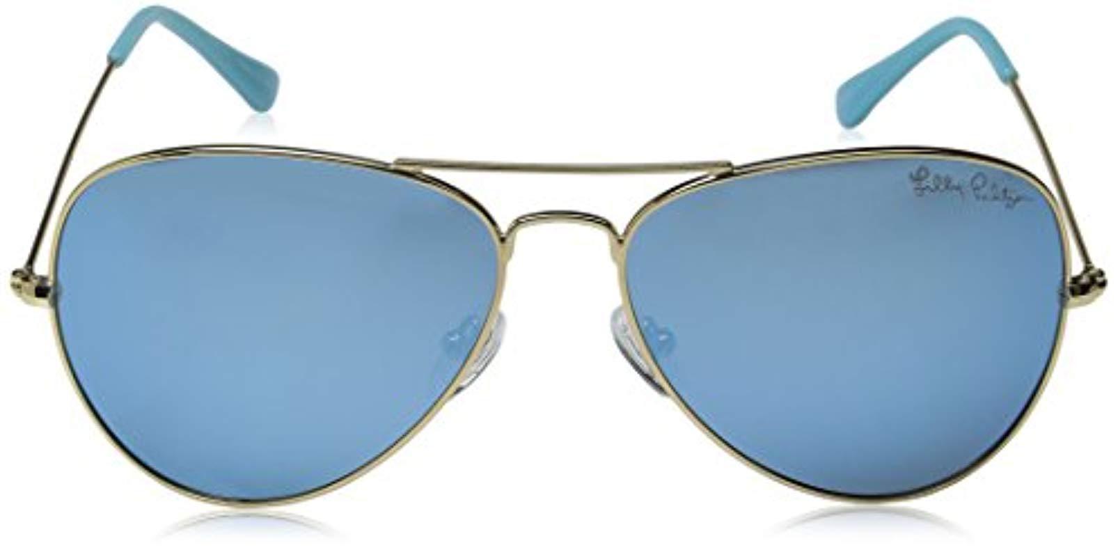 6843db97708 Lilly Pulitzer - Blue Lexy Lexysb59 Polarized Aviator Sunglasses - Lyst.  View fullscreen