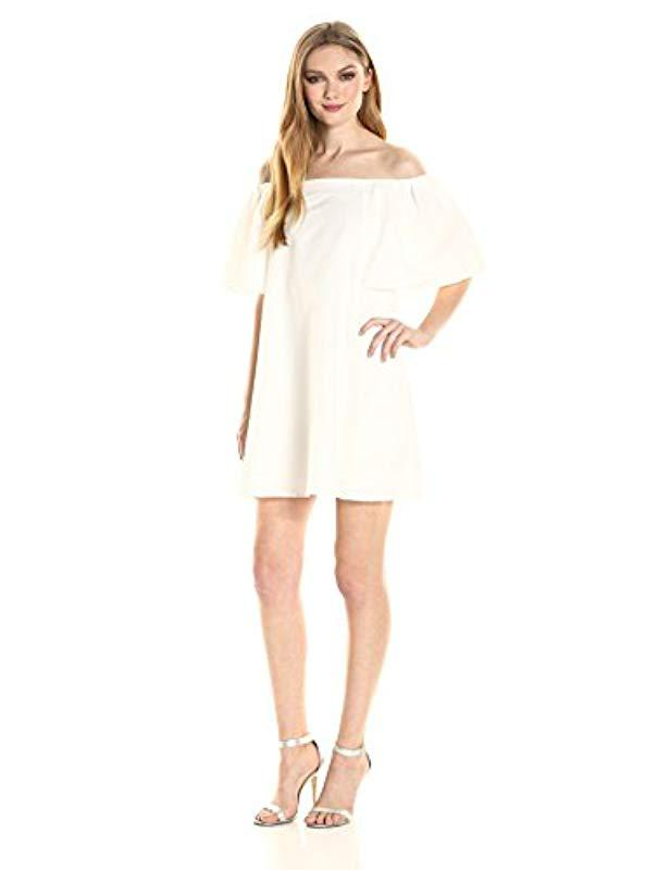Halston Heritage - White Flowy Sleeve Off Shoulder Jacquard Dress - Lyst.  View fullscreen 0da162b70