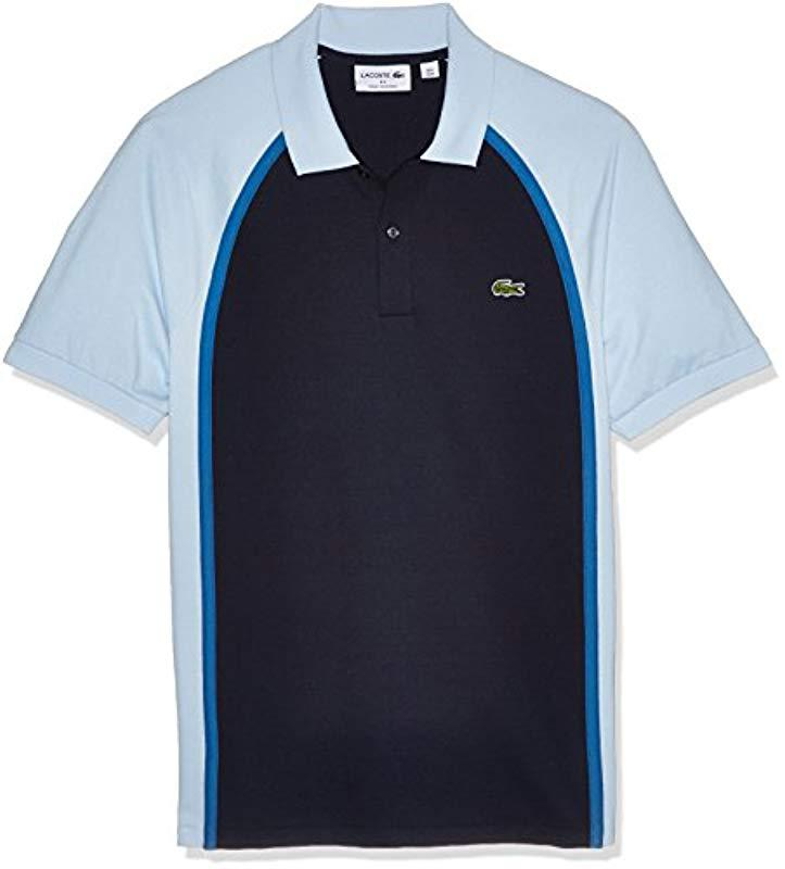 5be352f2fef8 Lacoste. Men s Blue Short Sleeve Made In France Pique Reg Fit Polo ...