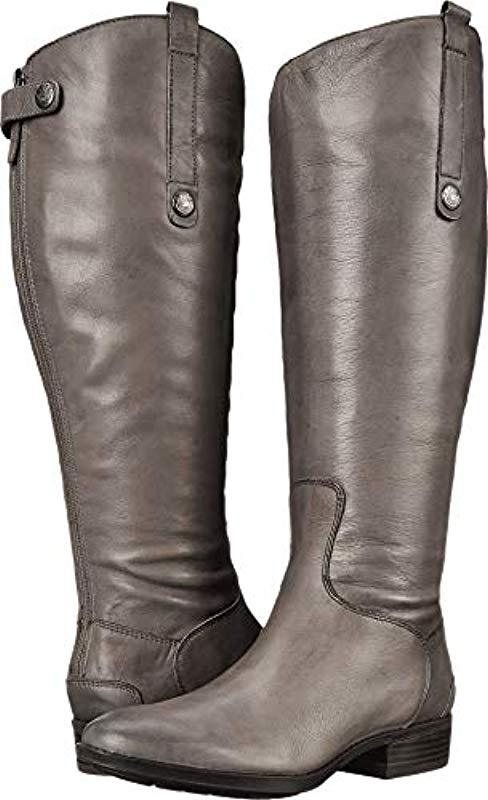 6626d8c1a Lyst - Sam Edelman Penny 2 Wide Calf Leather Riding Boot in Gray ...