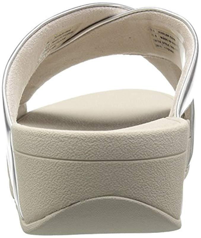 27c63e25b2e5 Lyst - Fitflop Swoop Slide Sandals in Metallic - Save 27.14285714285714%