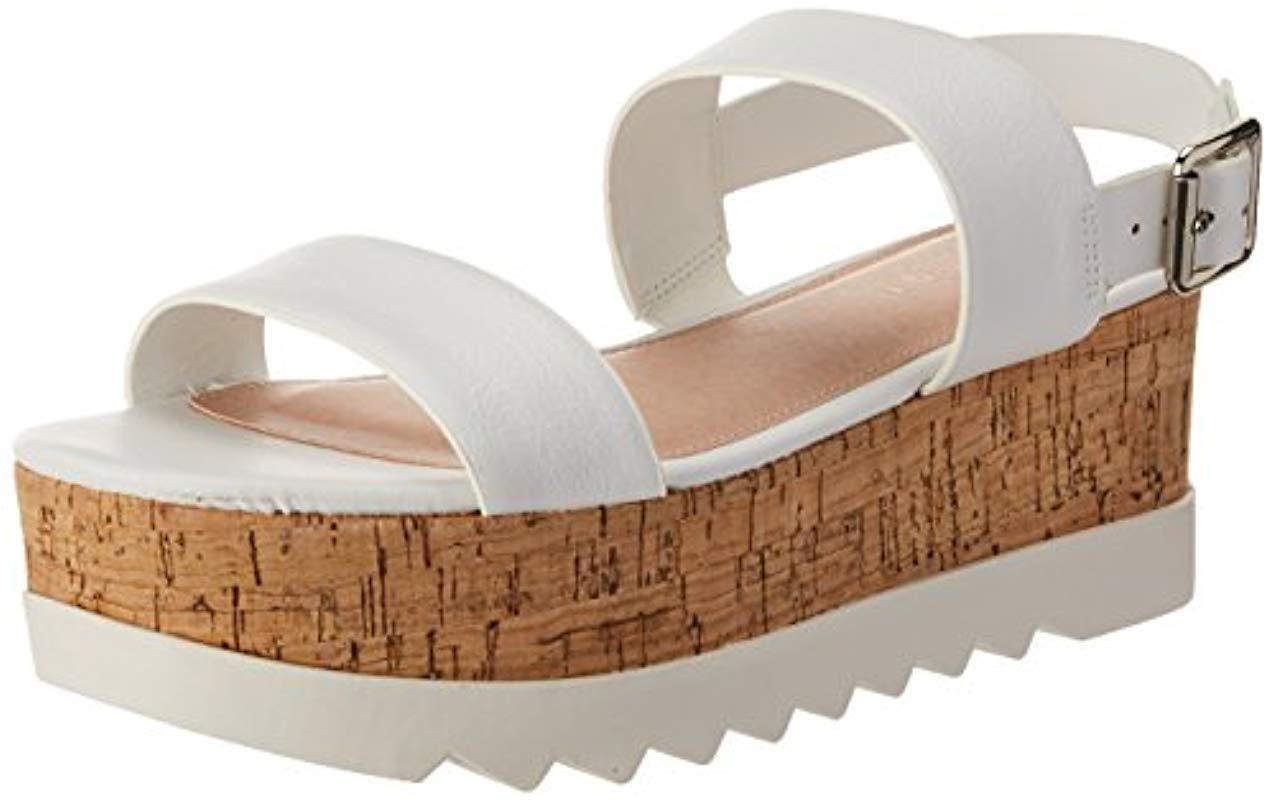 32e2a080dff Lyst - Madden Girl Sugarr Wedge Sandal in White