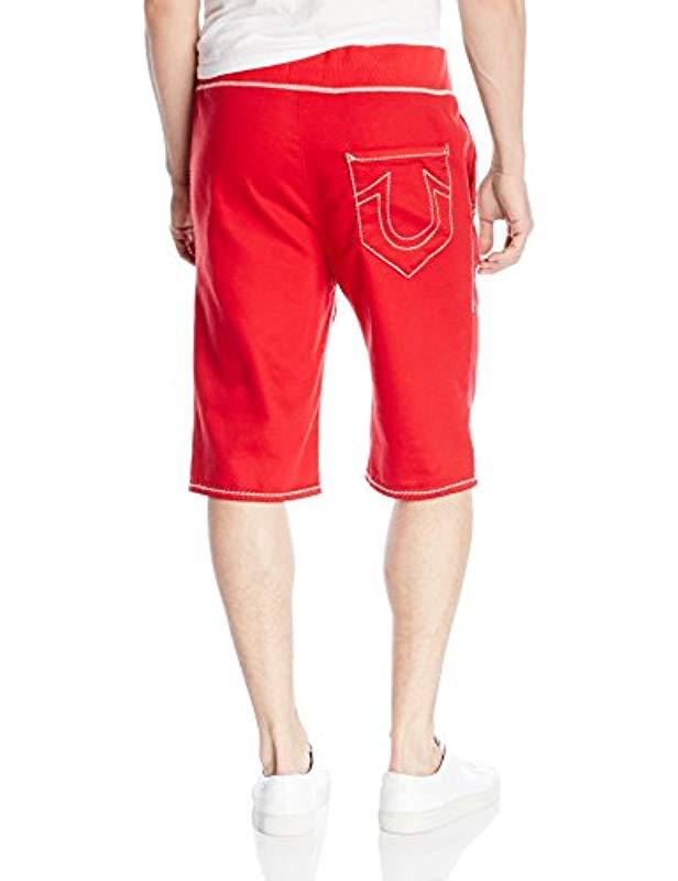 390d16bc Lyst - True Religion Contrast Cut Off Short in Red for Men
