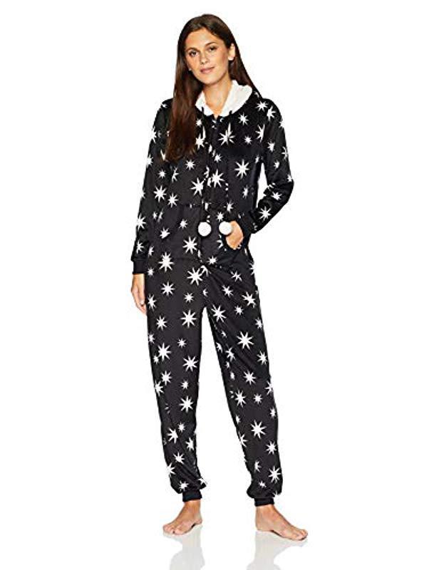 6116dd77516e Mae - Black Sleepwear Microfleece Hooded Onesie Pajamas With Poms - Lyst