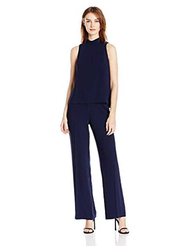 c32b09d07cc6 Lyst - Trina Turk Marisa Carmel Crepe Mock Neck Jumpsuit in Blue