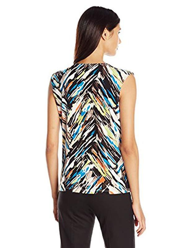 59d241283502dc Lyst - Kasper Print Extend Cap Pleat Neck Top Ity in Blue - Save 49%