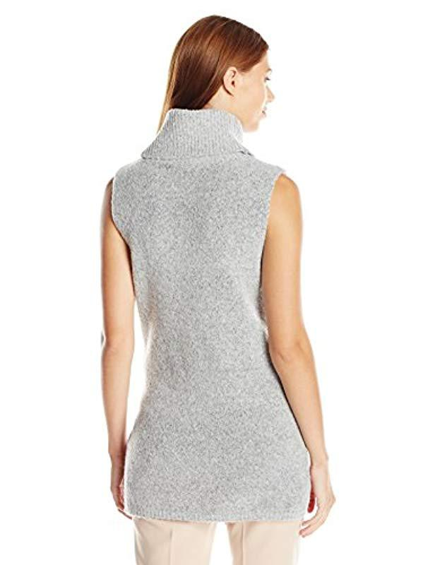 228c2641751a0 Lyst - Guess Sleeveless Turtleneck Sweater in Gray - Save 39%