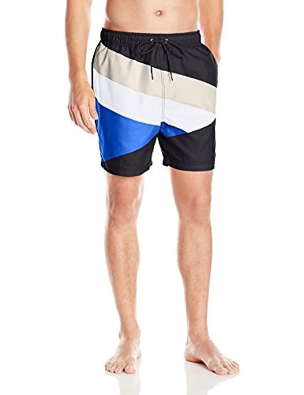 a8ebcda200 Lyst - Nautica Quick Dry Striped Color Block Swim Trunk in Blue for Men
