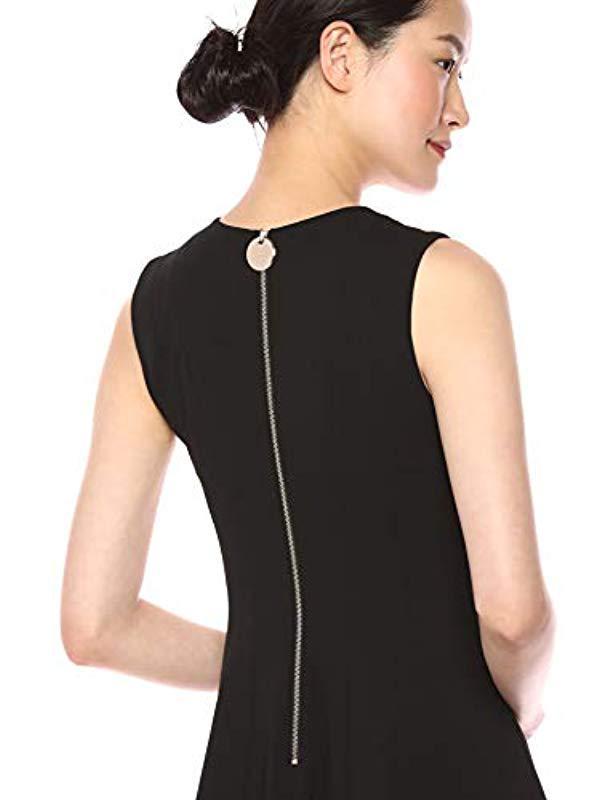 6aee4c9570a44 Lyst - Calvin Klein Sleeveless A Line Midi Dress With V Neckline in Black