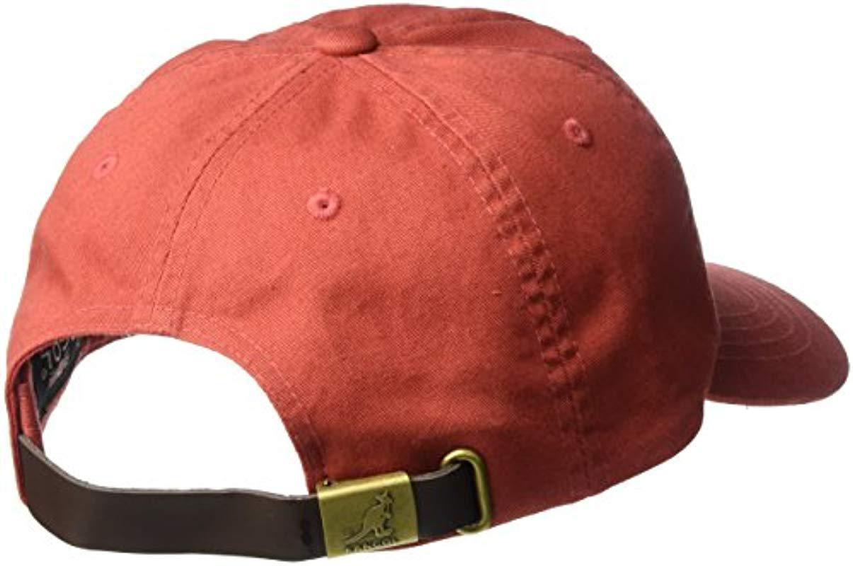 8fa9e5f5fd5 Kangol - Red Washed Cotton Baseball Dad Cap for Men - Lyst. View fullscreen