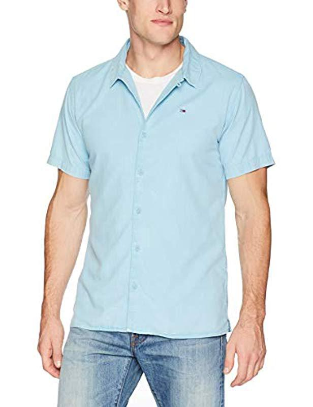 805409d2ee5a2 Tommy Hilfiger. Men s Blue Short Sleeve Button Down Shirt Camp Style.  70 From  Amazon ...