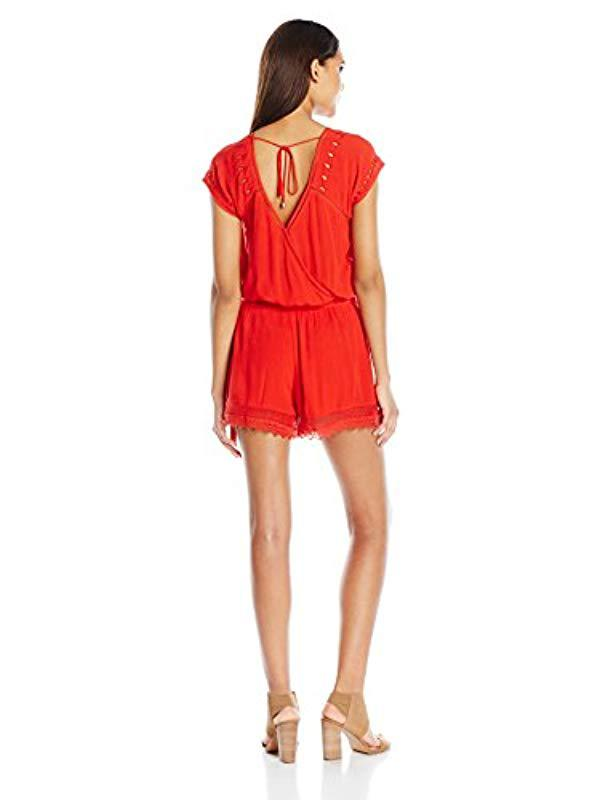 68ce5fc117 Lyst - Ella Moss Broderie Anglaise Embroidered Romper in Red - Save 81%
