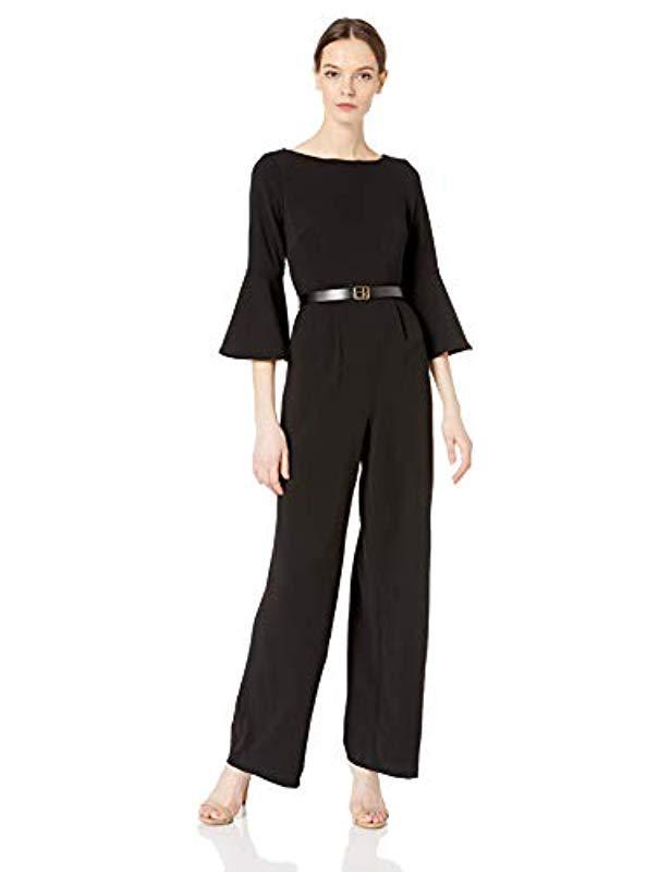 bd28855b011 Bell Sleeve Jumpsuit With Logo Belt Cd8c17b7 (black) Women s Jumpsuit    Rompers One Piece