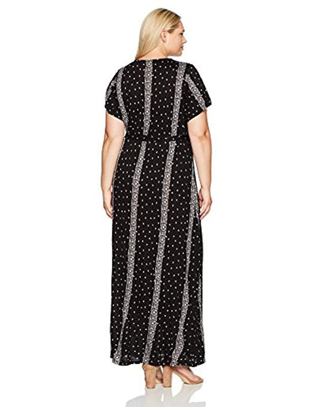 6043d7af672 Lyst - Lucky Brand Plus Size Striped Ditsy Maxi Dress in Black - Save  31.19266055045871%