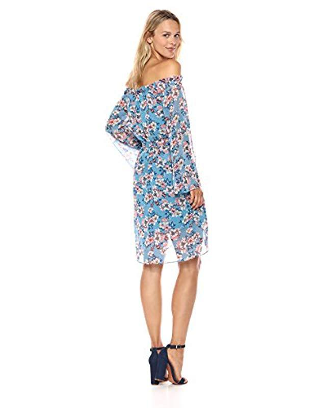5b8fbe07c2c0 Lyst - Ali & Jay Get Me To The Greek Off The Shoulder Long Sleeve Short  Dress in Blue