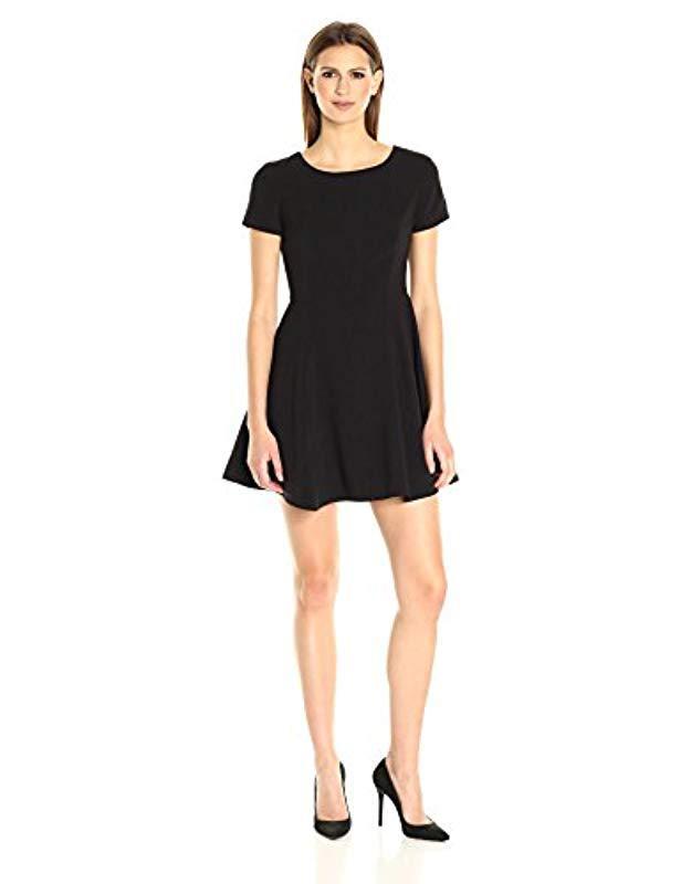 3073267e247b Lyst - Halston Short Sleeve Wide Crew Fit & Flare Silhouette Dress ...