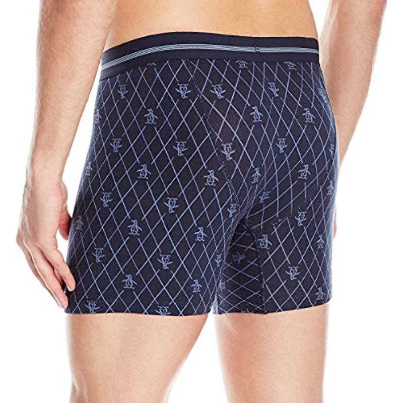 e3d8bd6865cf Original Penguin - Blue Cotton Spandex Boxer Brief Underwear for Men - Lyst.  View fullscreen