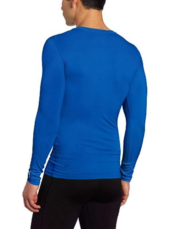 8a3c339503b PUMA Pb Lite Long Sleeve Compression V-neck Tee in Blue for Men - Lyst