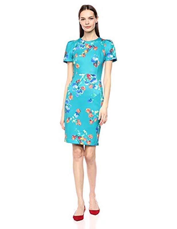 125b45c7 Calvin Klein. Women's Blue Short Sleeved Sheath With Princess Seams Dress