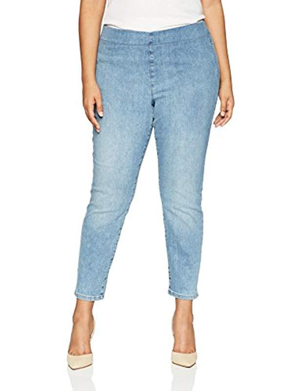 9bc533efb0f22 Lyst - NYDJ Plus Size Pull On Skinny Ankle Jean With Side Slit in ...