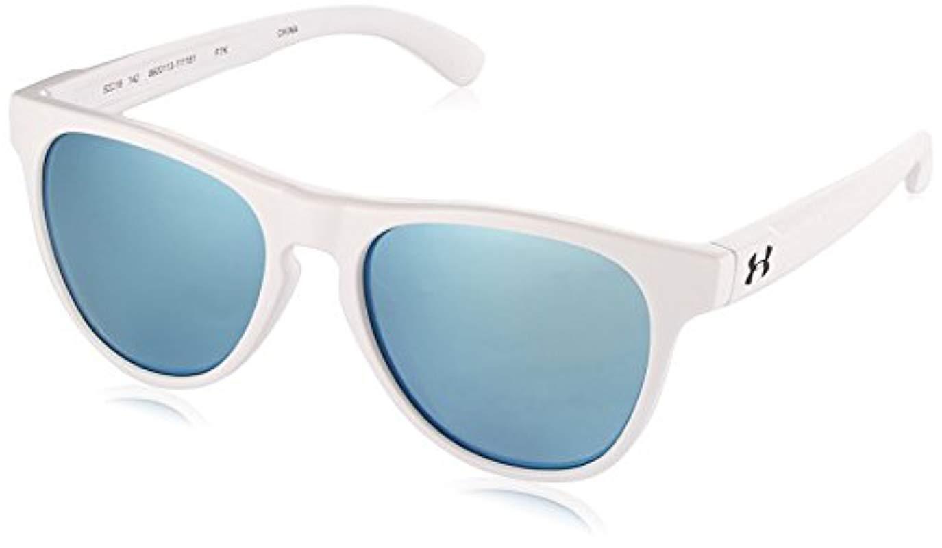 5df29b3e557 Under Armour. Women s Round Sunglasses Ua Scheme Satin White blue  Multiflection Lens M