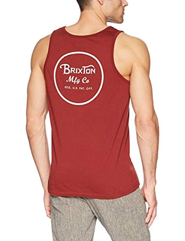 2fe0f1ef247e9 Lyst - Brixton Wheeler Tailored Fit Tank Top in Red for Men - Save 8%